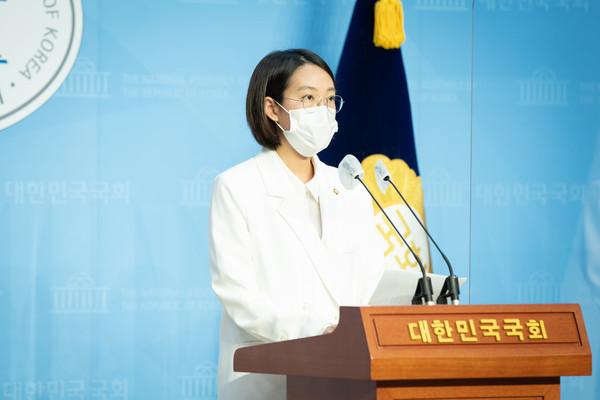 장혜영 정의당 의원이 사회적경제 기본법을 대표 발의했다 사진은 지난달 28일, 정부의 2021년 정부예산안 시정연설관련 기자회견./사진제공=장혜영 의원실